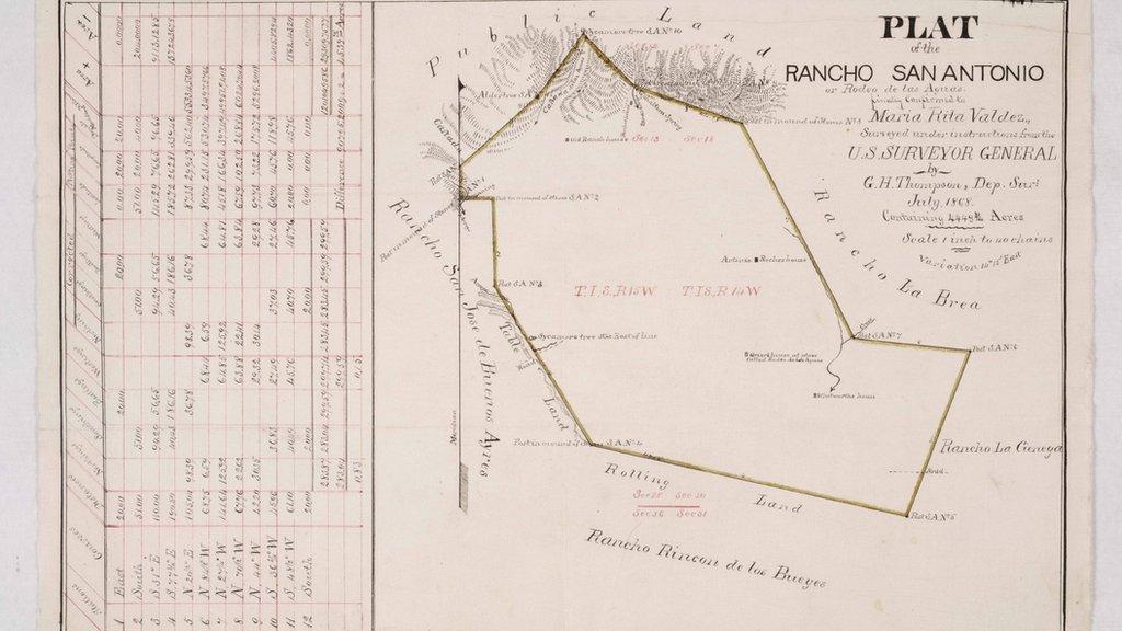 Mapa del Rancho Rodeo de las Aguas, año 1868.