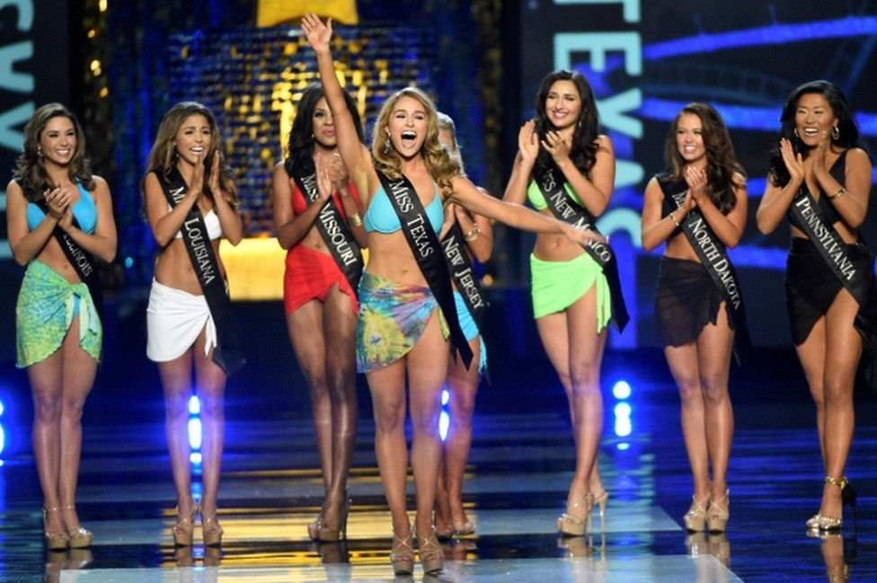 Miss Texas Margana Wood reacts after advancing from the swimsuit component of the Miss America competition in Atlantic City, New Jersey, on 10 September, 2017.