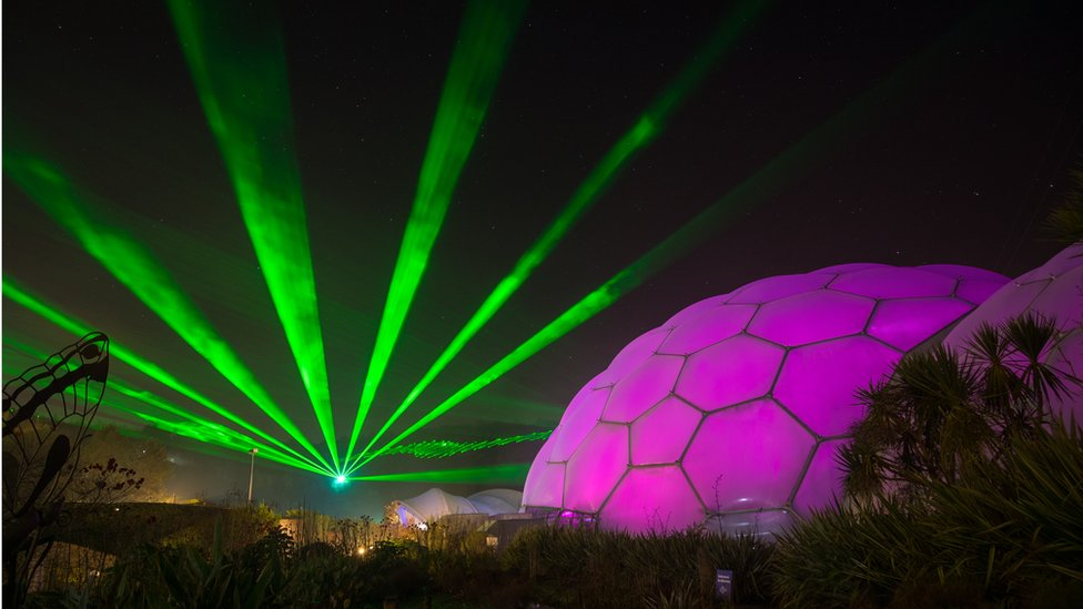 Laser light show over the Eden Project, Cornwall