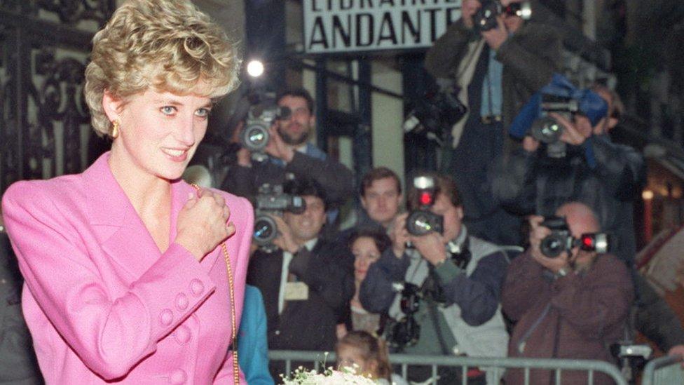 Diana, Princess of Wales having her photo taken by paparazzi