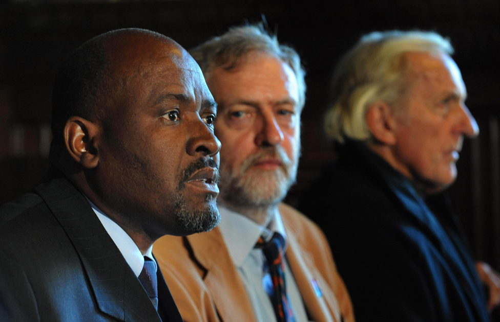 Olivier Bancoult (left), the Chagossian leader, is accompanied by supporters Jeremy Corbyn MP (centre) and investigative journalist, John Pilger (left) as he holds a press conference at the House of Commons, 2008