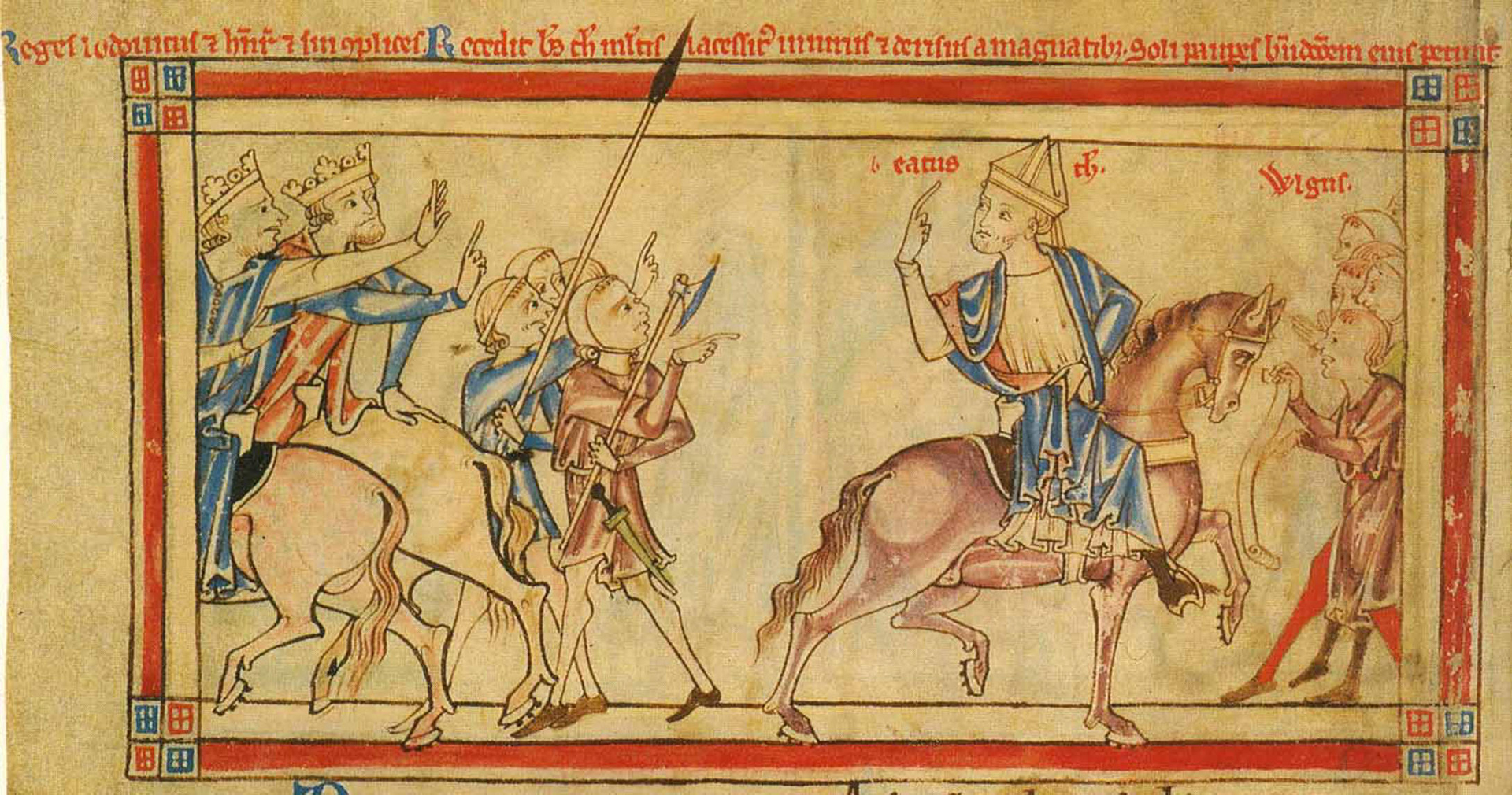 Becket leaving Henry II and Louis VII, in the Becket Leaves