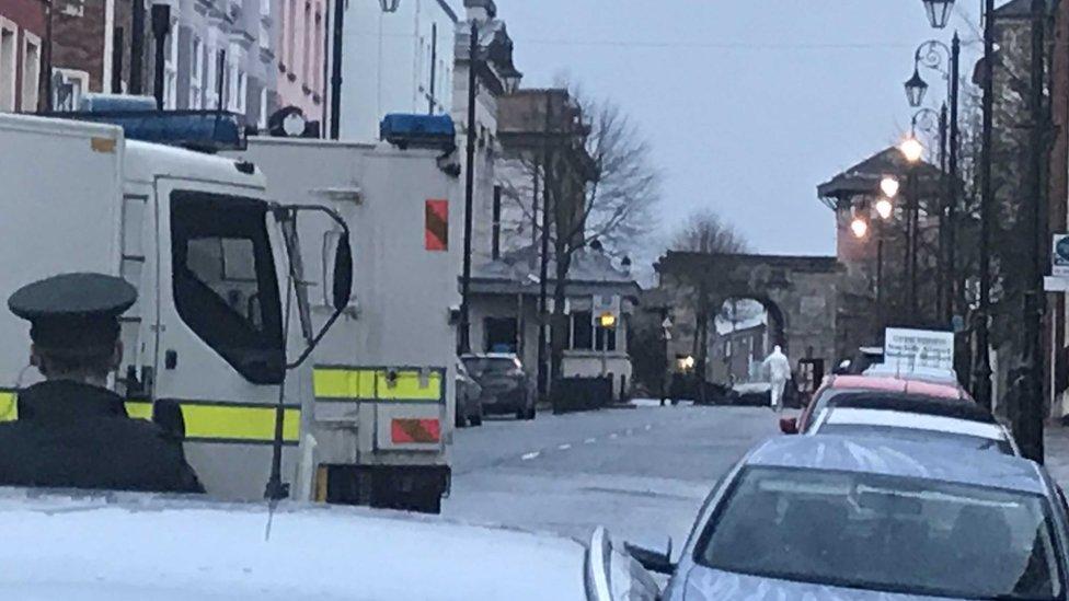police cordon at scene of Londonderry bomb