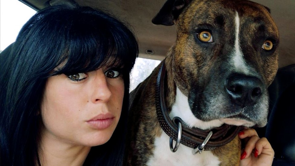 Elisa Pilarski, 29, with one of her dogs