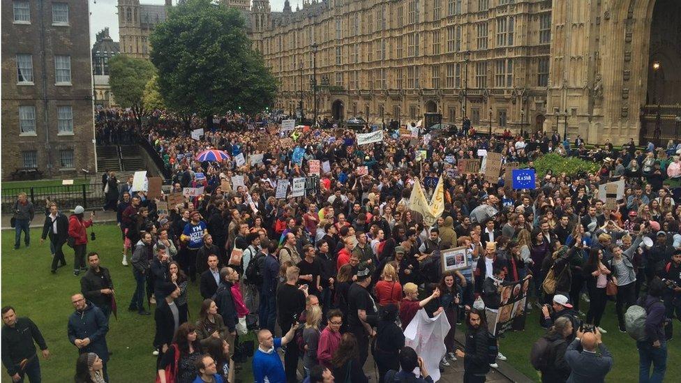 Pro-EU crowds demonstrating outside Parliament