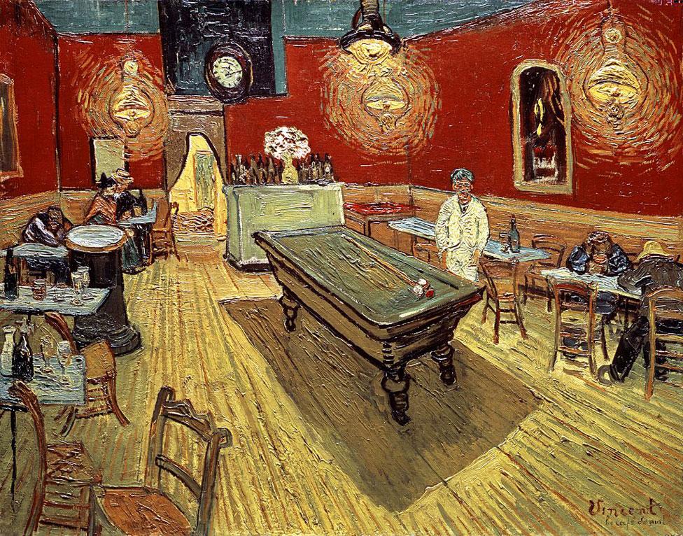 """""""El café nocturno en la Plaza Lamartine en Arles"""" de Vincent Van Gogh"""