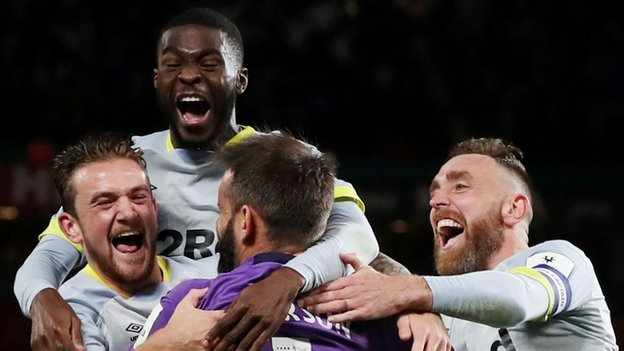 Derby win dramatic shootout to knock Man Utd out of Carabao Cup