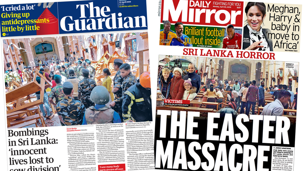 Paper review: 'Innocent lives lost' in 'Easter massacre'