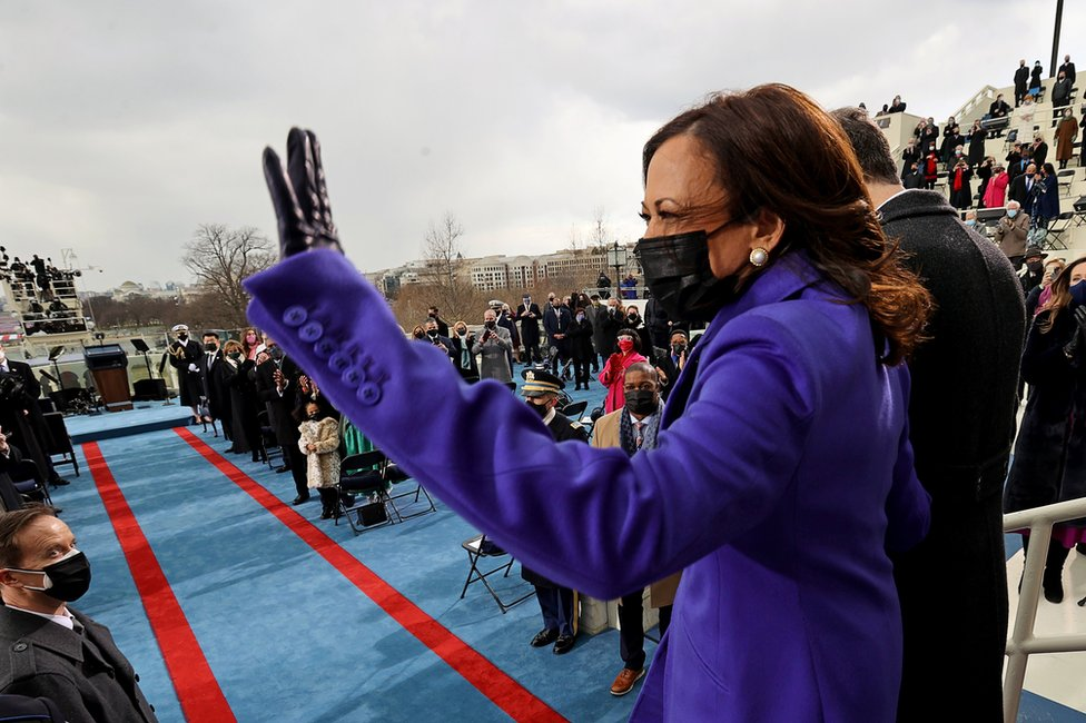 Vice President-elect Kamala Harris waves to the crowd