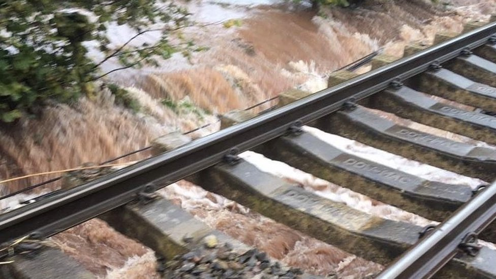 Flooding damaging the track in Herefordshire