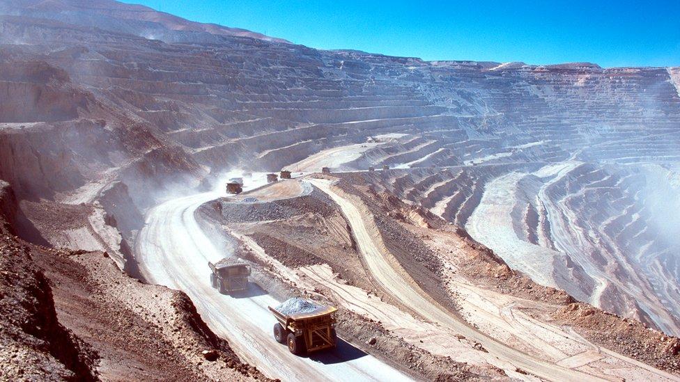 Minas en el desierto de Atacama, Chile.
