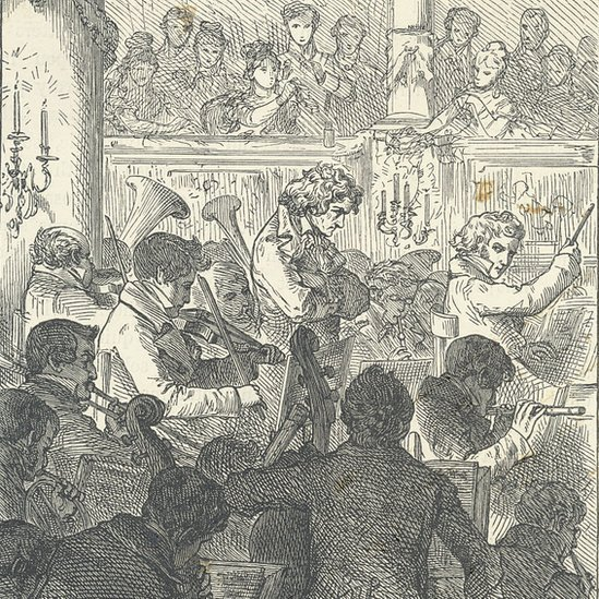 Period engraving of Beethoven on stage, conducting the Ninth Symphony