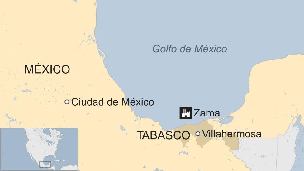 Un mapa de la ubicación de Zama
