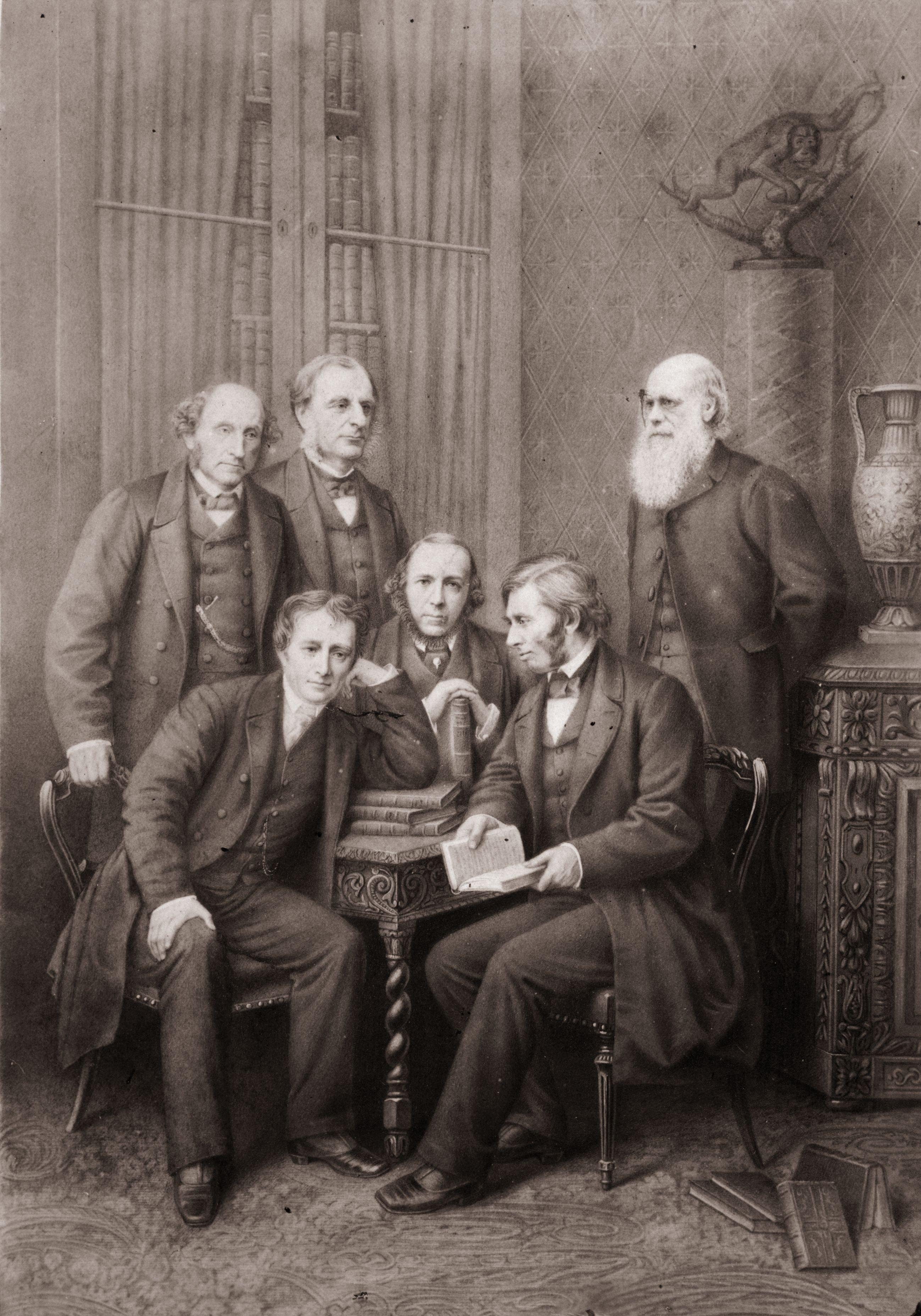 Herbert Spencer junto a otros pensadores