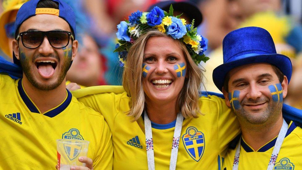 Seguidores del equipo de fútbol de Suecia