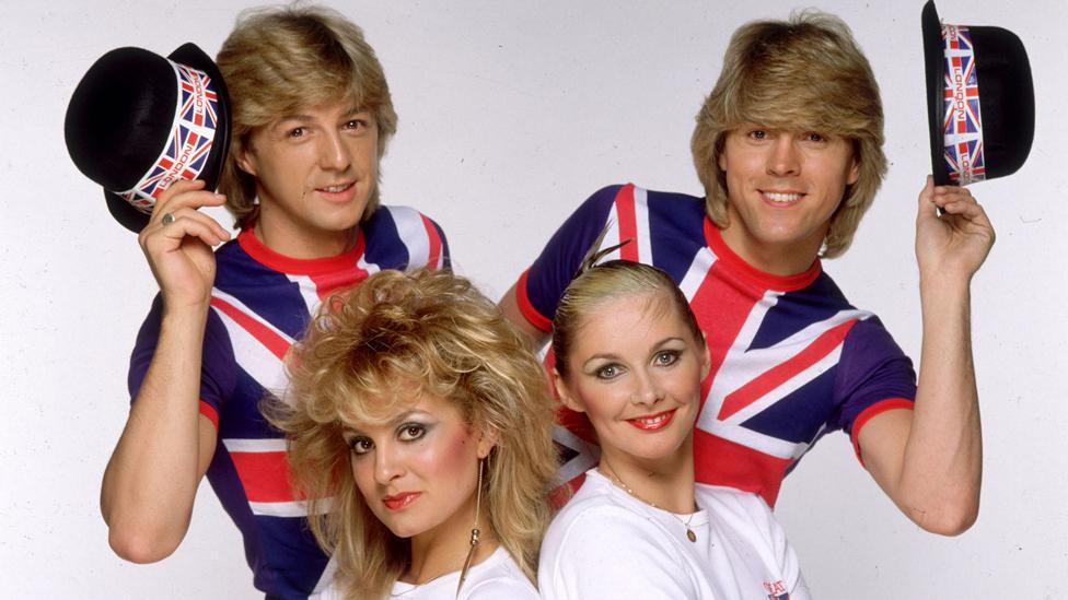 (Clockwise L-R) Bobby G, Mike Nolan, Cheryl Baker and Jay Aston of Bucks Fizz in 1981