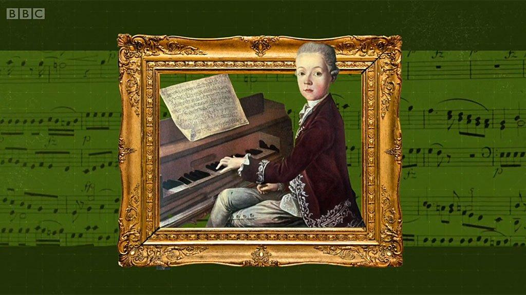 Mozart niño tocando piano