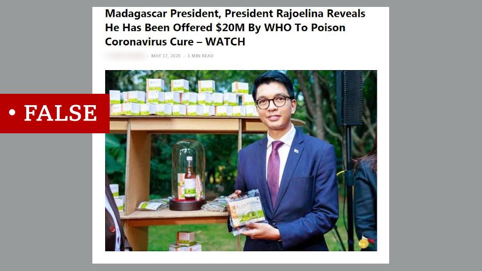 لقطة شاشة يظهر فيها الرئيس راجولينا