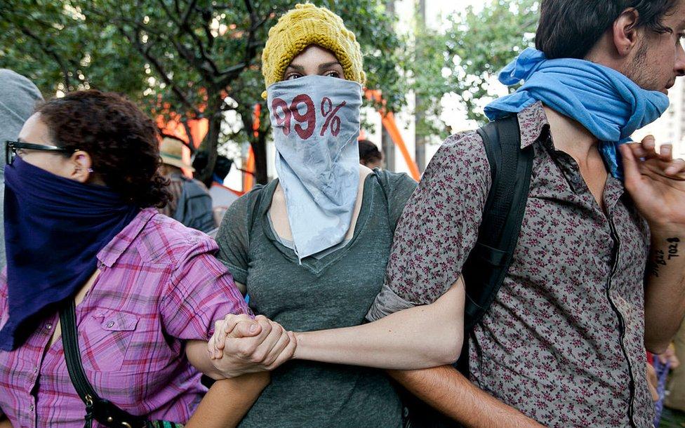 2011年參與佔領洛杉磯的抗議者們