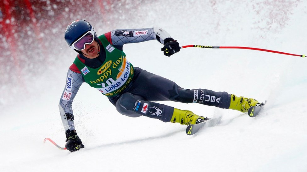 Bryce Bennett of USA in action during the Audi FIS Alpine Ski World Cup Men's Super G