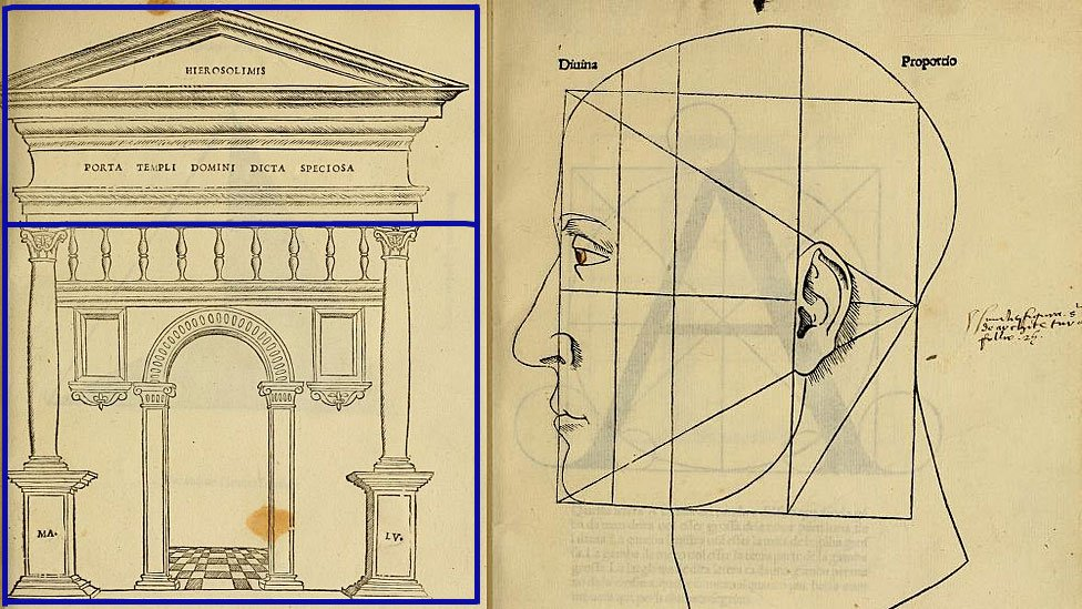 """Dos ejemplos de las ilustraciones del libro """"De divina proportione"""""""
