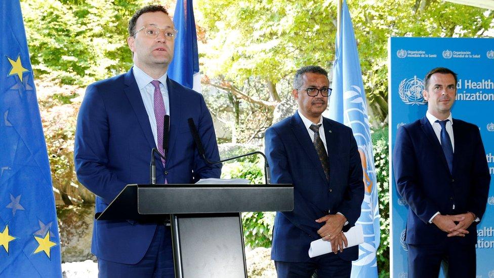 Jens Spahn, Tedros Adhanom Ghebreyesus, Olivier Veran in Geneva