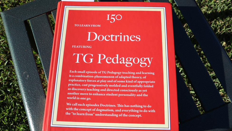 A book cover: 150 Doctrines Featuring TG Pedagogy
