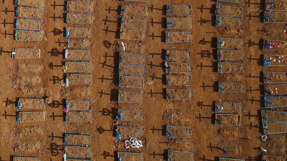covas abertas em cemitério para vítimas da pandemia de covid-19