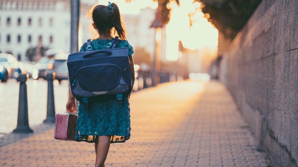 Child walking to school