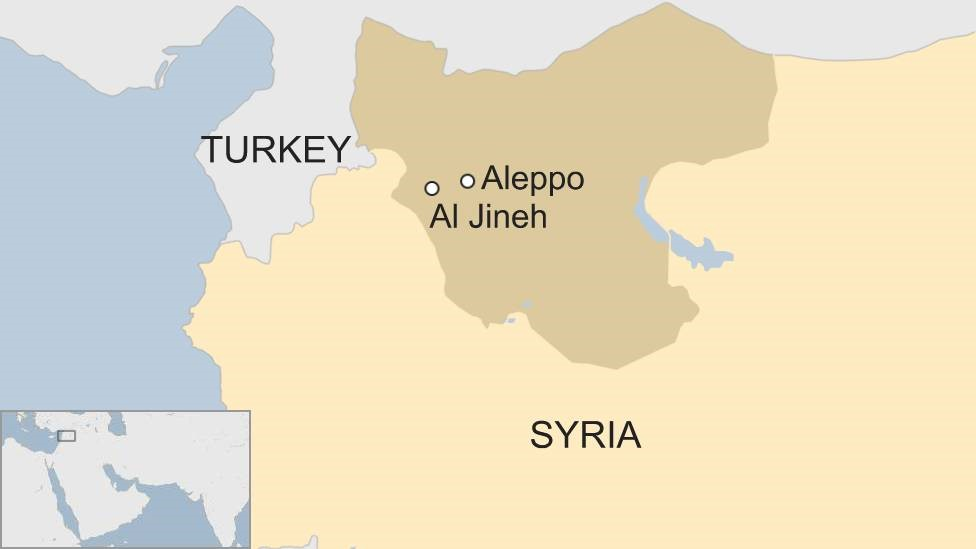 BBC map showing Al Jineh in Syria