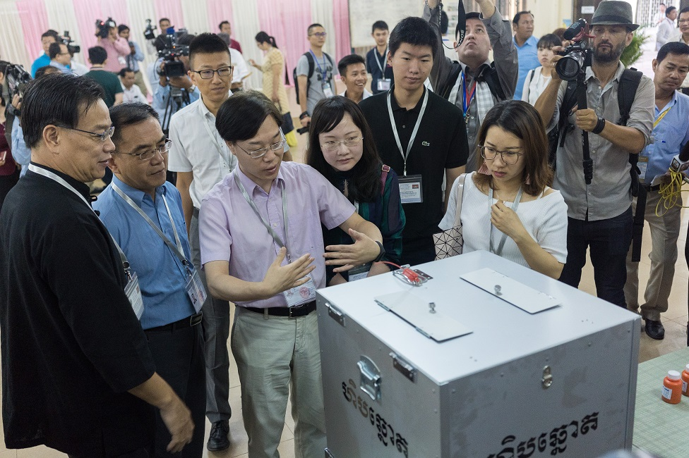 Election monitors are pictured