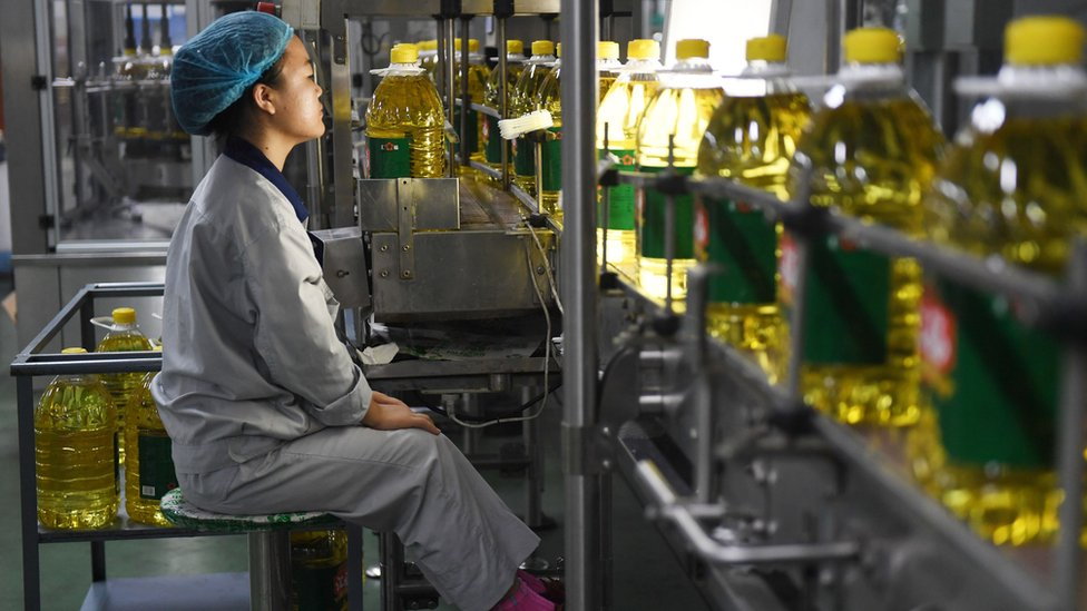 This photo taken on July 19, 2018 shows a worker monitoring a soybean oil production line at the Hopeful Grain and Oil Group factory in Sanhe, in China's northern Hebei province.