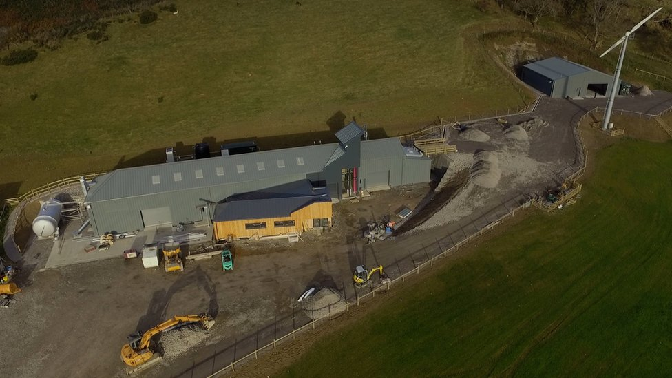 Aerial image of GlenWyvis Distillery during its construction