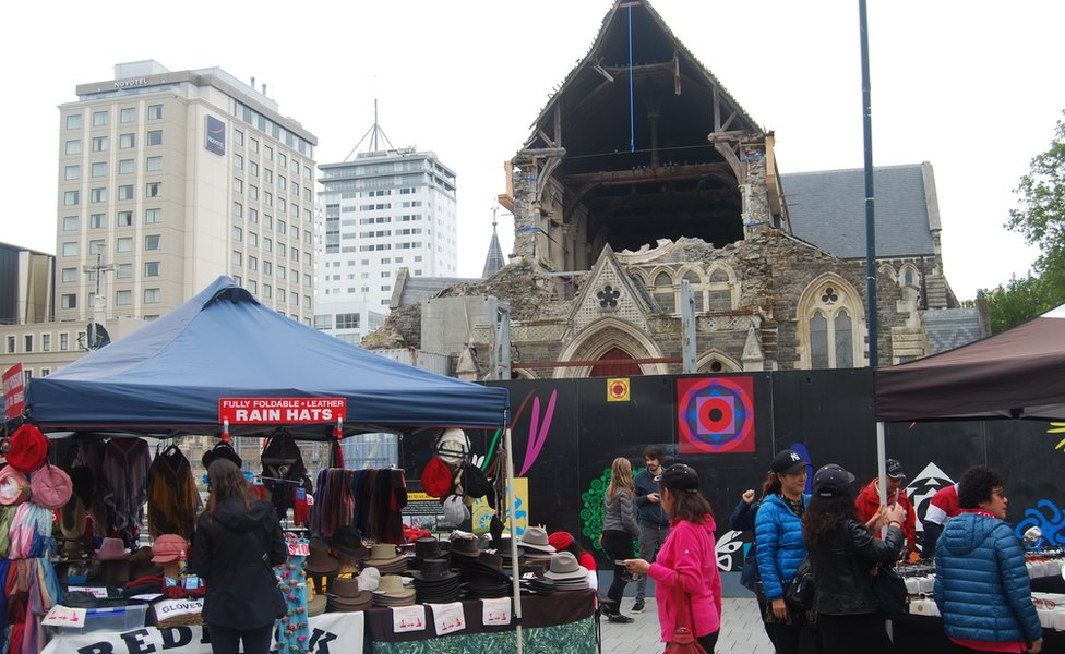 Quake-hit cathedral and market