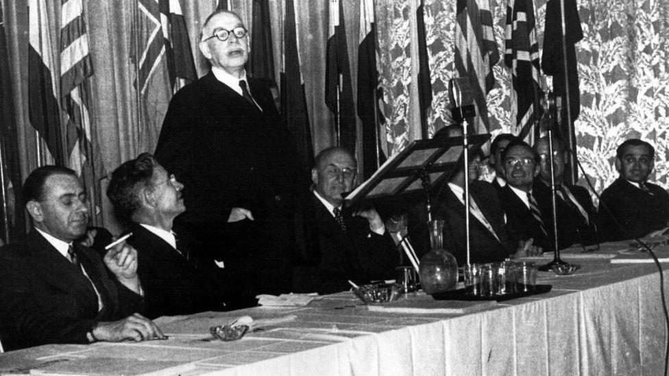 UK economist John Maynard Keynes addressing the Bretton Woods conference on post World War Two reconstruction and economic order