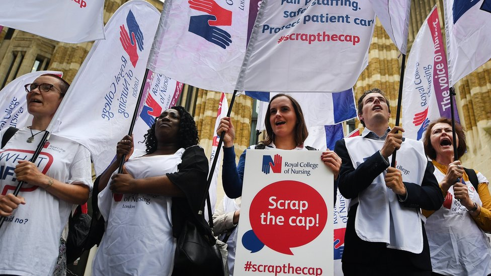 Nurses protesting against the pay cap