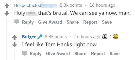 """Un usuario escribe: """"Hola*, eso es brutal, te podemos ver."""" Bown responde: """"Me siento como Tom Hanks ahora mismo""""."""