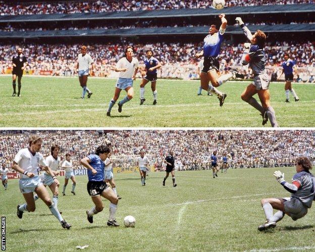 هدفي دييغو مارادونا ضد إنجلترا في مونديال 1986
