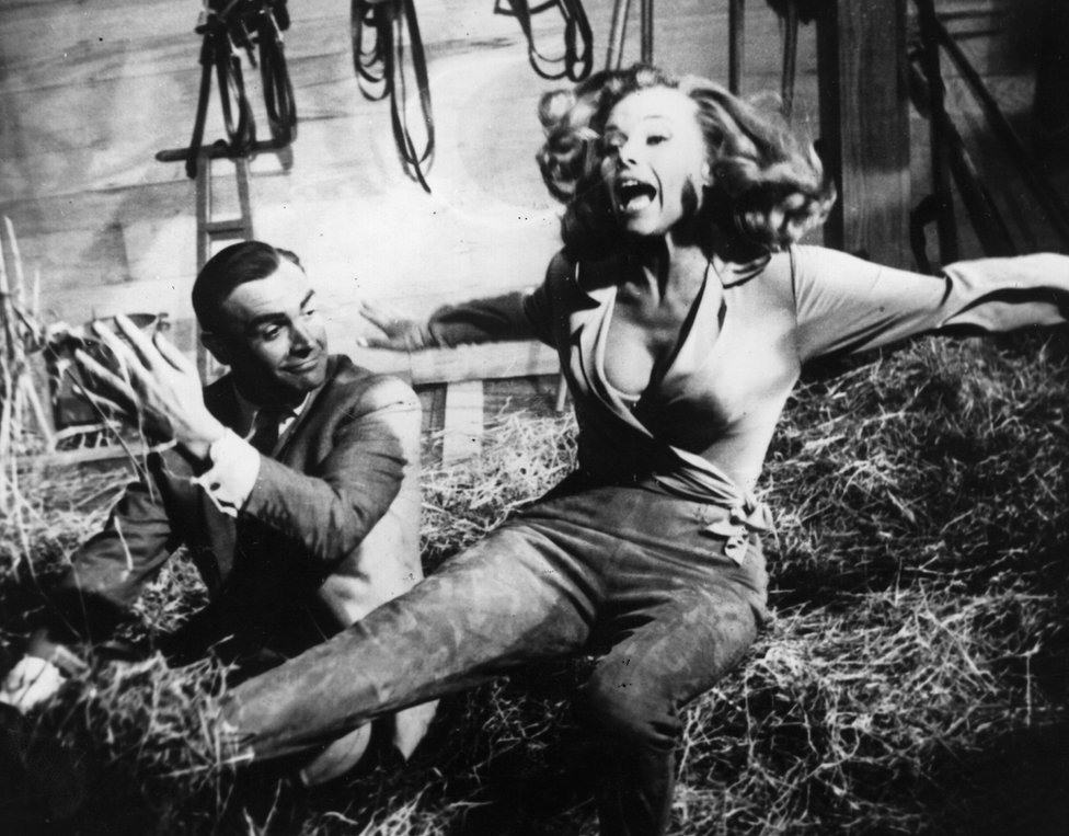 Sean Connery in Goldfinger with Honor Blackman