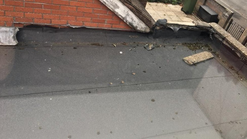 David Spragg's roof with some of its lead removed