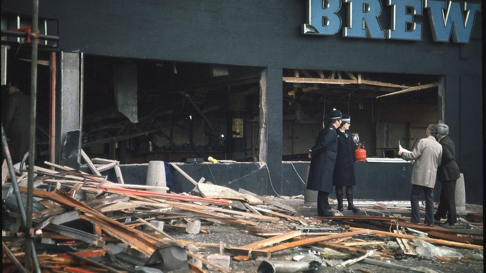 The Mulberry Bush pub after the bombing