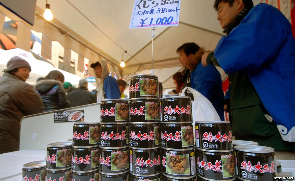Whale meat is sold in Japan