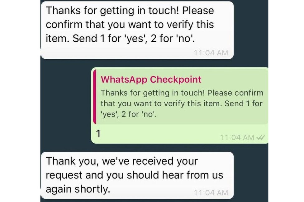 Screenshots showing WhatsApp checkpoint's service responding to a BBC message asking for confirmation that we want to verify an item