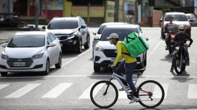A bike courier in Brazil
