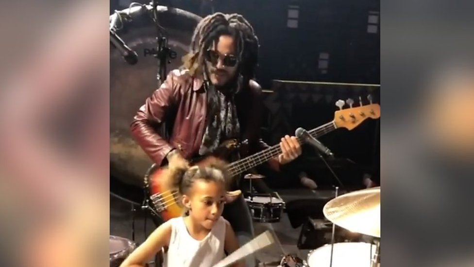 Lenny Kravitz jams with nine-year-old drummer