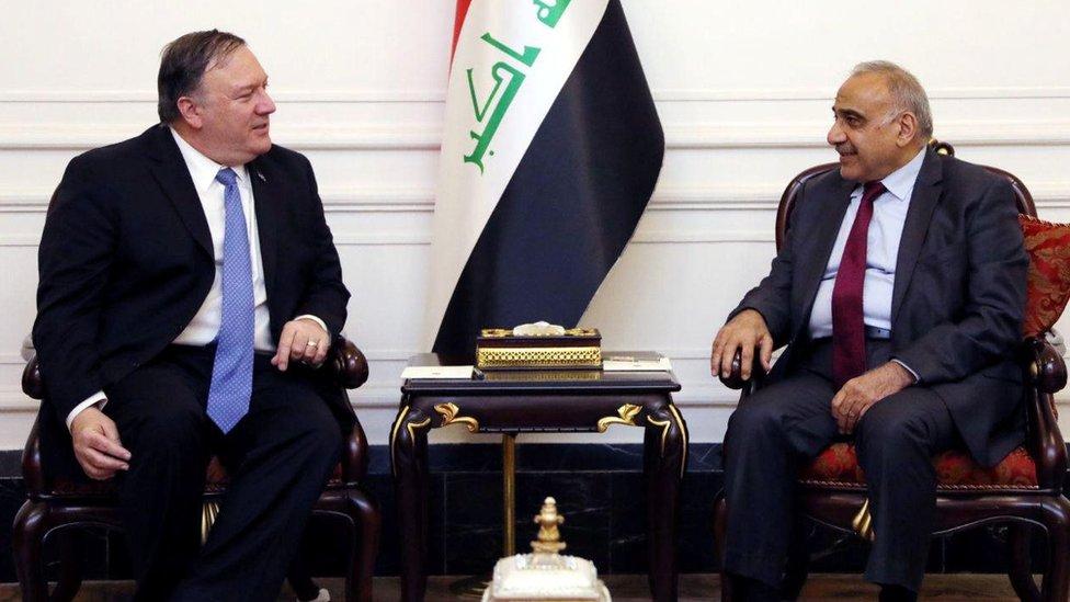El secretario de Estado de EE.UU., Mike Pompeo, junto al primer ministro de Irak, Adel Abdel Mahdi.