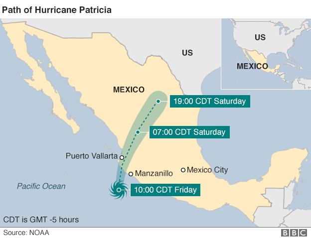 Map of Hurricane Patricia's path