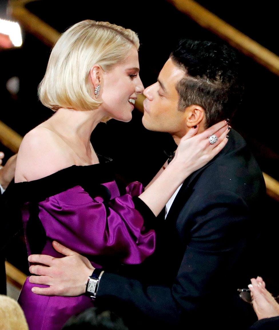 Rami Malek kisses Lucy Boynton