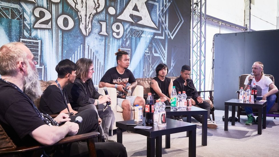 The band give a Q&A