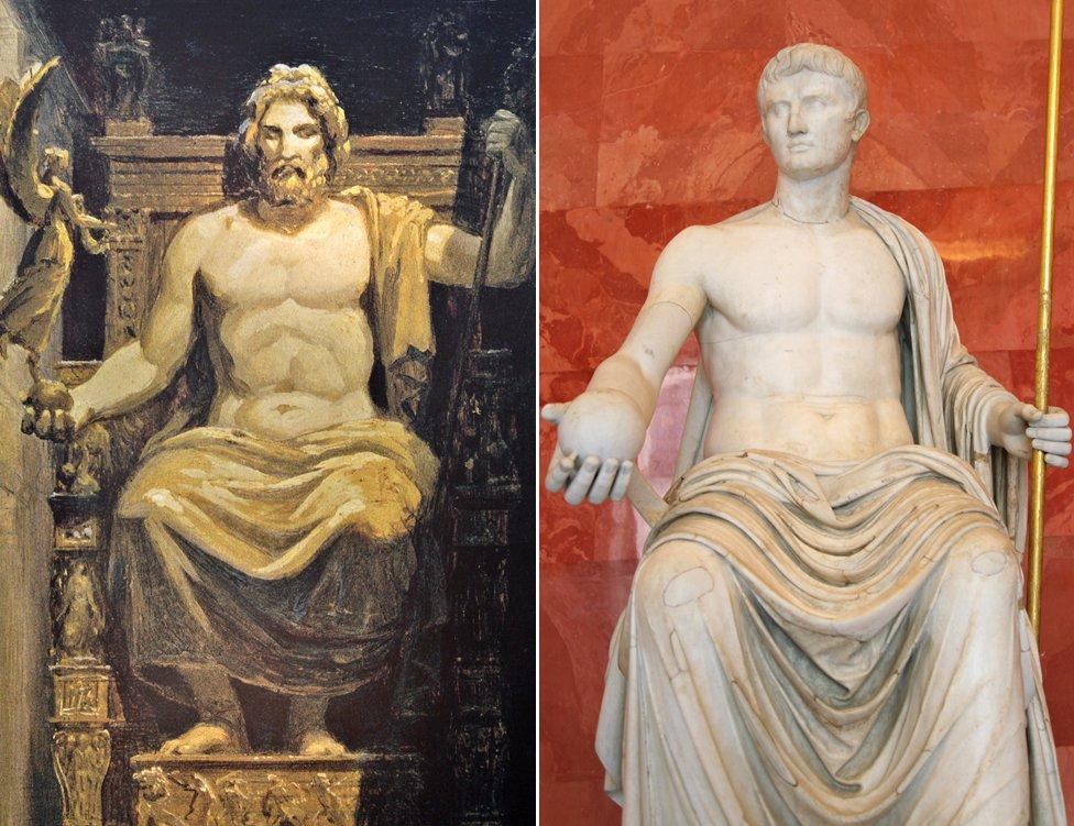 Phidias' Olympian Zeus and statue of Augustus